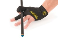 Billiard Glove, Predator Second Skin, 3-Finger, black-yellow, to wear on right hand