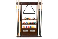 Billiard Cue & Ball Rack w/ Score Counters, mahogany, for 6 Billiard Cues, Balls
