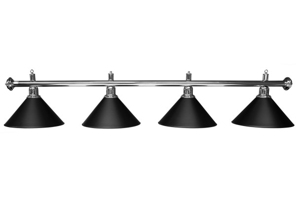 Billardlampe, Elegance, schwarz/silber, 4 Schirme, Ø 35 cm, 145 cm