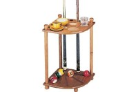 Billiard Cue Rack Corner Rack, oak, for 8 Billiard Cues, Balls