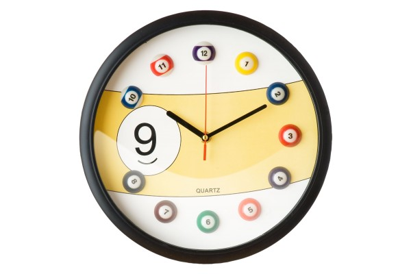 Billiard clock 9, yellow | Billiard Wall Clocks | Billiard Room ...