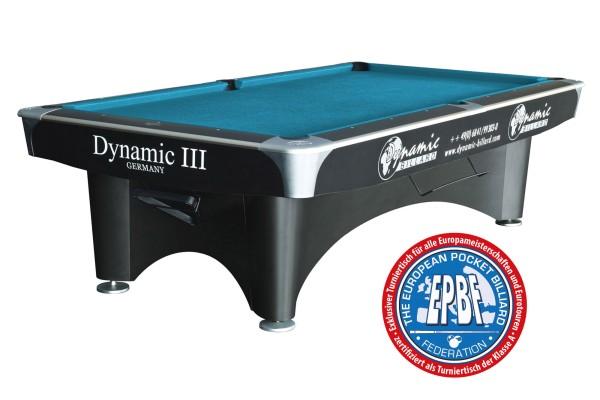 Billardtisch Dynamic III, 9 ft. (Fuß), matt-schwarz, Pool, gebraucht