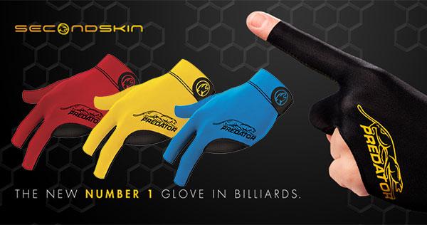 Billiard Glove, Predator Second Skin, 3-Finger, black-grey
