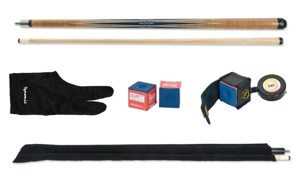 Billard Queue Set 4, Queue + Handschuh + Kreide + Tasche + Kreidehalter